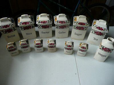 Vintage Helene Kitchen Spice Container Set - Made In Germany - Hand Painted