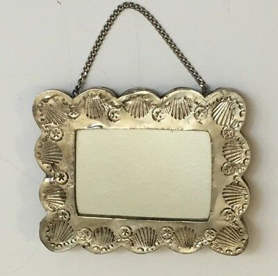 ANTIQUE 900 COIN SILVER Turkish  Repousse Hanging Mirror Signed AYAN Scalloped