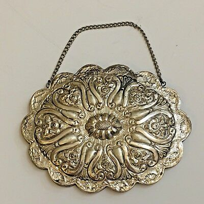 ANTIQUE 900 COIN SILVER Turkish  Repousse Hanging Mirror Signed SUPER Scalloped