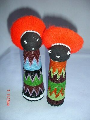2 African Beeded Tribe Dolls Fertility Doll Hand Beaded Figurine