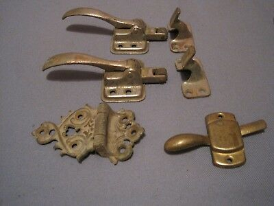Vintage Old Ice Box Hardware  2 Latch Sets Ornate Hinge,  an 1 Handle Latch  NR