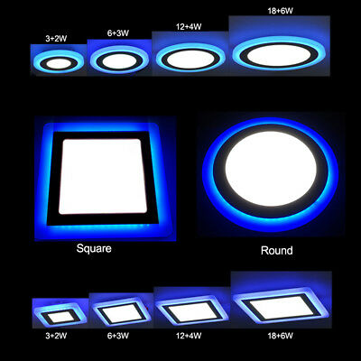 Dual Color LED Lights Recessed Ceiling Panel Downlight Spot Lamp Round/Square