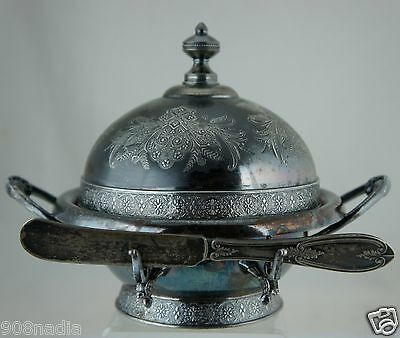 Antique Silver Quadruple Plate Victorian Butter Dish & Butter/spread Knife