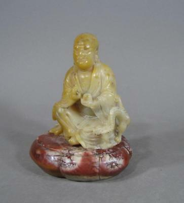 Finely Carved Antique Chinese Soapstone Statue Sage, Dragon, Lobed Stand, 18/19C