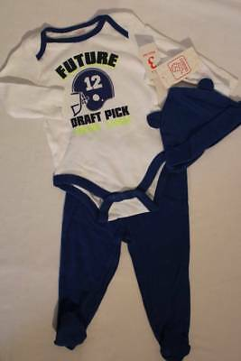 d5435ffa9a9 NEW Baby Boys 3 piece Outfit 0 - 3 Months Bodysuit Pants Hat Ears Set  Football