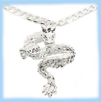 """925 Sterling Silver 30"""" Womens Mens Necklace With Opulent Dragon Pendant D507C"""