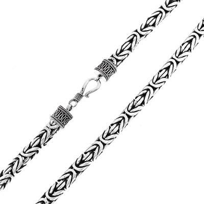 7MM MENS BYZANTINE HANDMADE HEAVY 925 STERLING SILVER CHAIN necklace, 18-30""