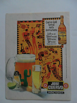 1995 Print Ad Jose Cuervo Gold Tequila ~ Heiroglyphics Lick the Salt, Bite Lime