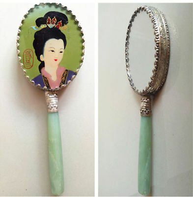 Antiques Collection Beauty pattern Hand held  green jade women's Makeup mirror