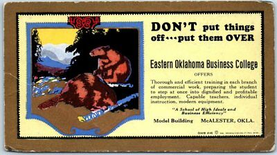 Eastern Oklahoma Business College Advertising Ink Blotter Card McAlester c1940s