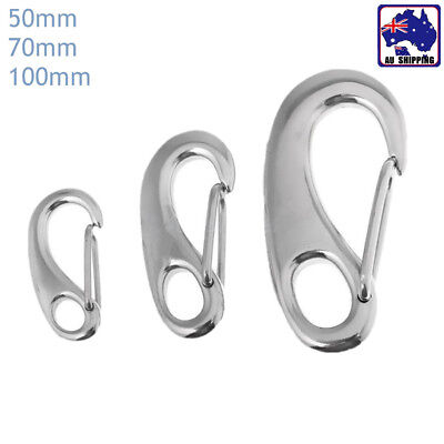 Egg Shape Spring Snap Hook Quick Link Carabiner Clips Stainless Steel TEBO984