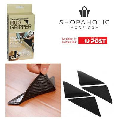 4x Anti Skid RUG GRIPPERS Non Slip Reusable Carpet Mat Gripper