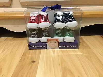 Baby Essentials Set of 4 Pairs of Sockets Booties Baby Size 0-6 Months NEW