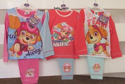 Paw Patrol Pyjamas Skye Girls Pink Character Sleepwear Nightwear Set New