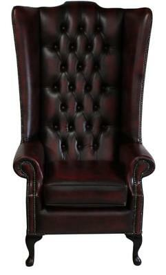 Chesterfield Soho Queen Anne High Back Wing Chair Antique Oxblood Leather