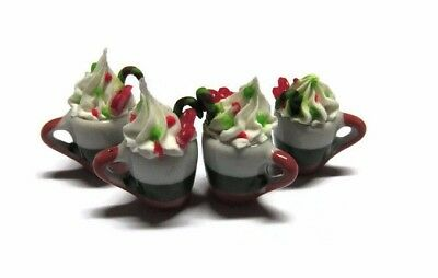 4 Cups of Christmas Cappuccino Coffee Dollhouse Miniatures Food Deco Holiday