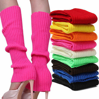 Fashion Women Legwarmers Knitted Neon Dance 80s Costume 1980s Lady Leg Warmers