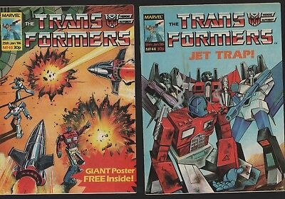 TRANSFORMERS Comics  44 45 1986 Marvel comics A4.173