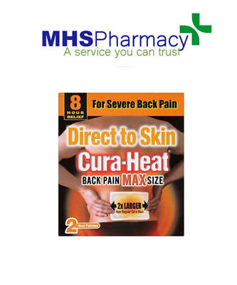 Cura Heat Direct To Skin Back Pain Max Size 2 Heat Pads