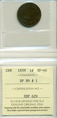 ICCS CAN 1859 1 cent EF-40 DP N9 # 1 XDP 629