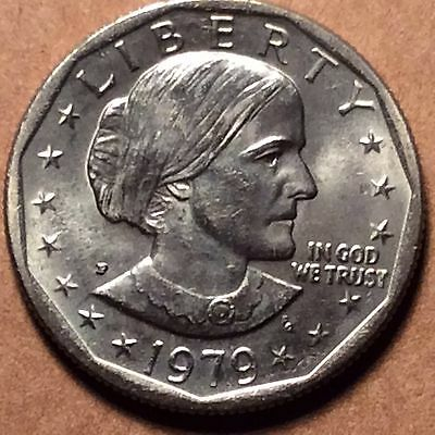 1979-P SBA Susan B Anthony $1 Dollar Coin  Wide Rim Near Date  AU - Uncirculated