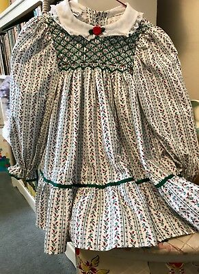 Vtg Polly Flinders Smocked Dress Holiday Colors Size T-4 Long Sleeve Lace Trim