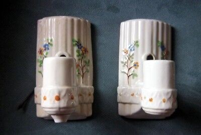 PAIR Vintage Porcelain Hand Painted Wall Sconce Lights Flowers