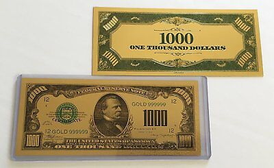 WR American $1,000 Dollar Gold Plated US Banknote Currency Bill with COA