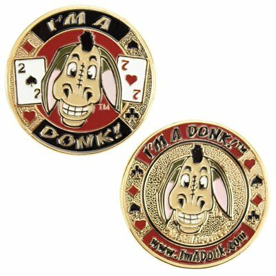 Heavyweight Solid Brass Poker Card Guards with Color Inlays I'm a Donk!