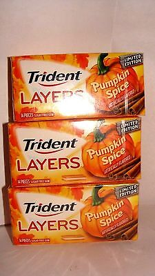 3 PACKS Trident Layers Gum, Limited edition PUMPKIN SPICE (Collection)     bx006