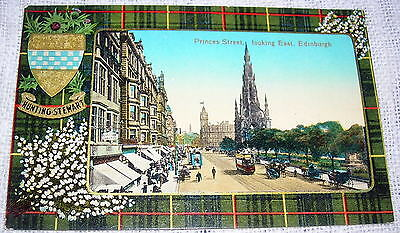 Vintage Scottish Hunting-Stewart Tartan Postcard - Edinburgh Princes Street