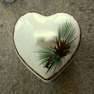 LOVELAND ART POTTERY Vintage Heart-Shaped Trinket Box, PINE CONE Design Colorado