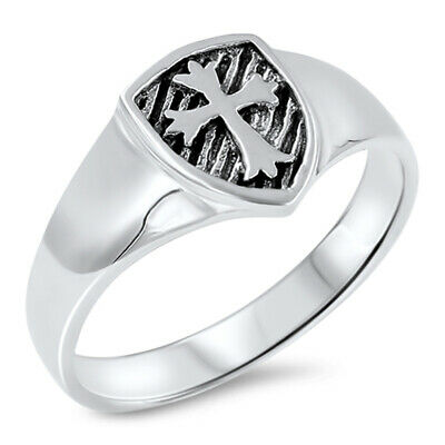 Oxidized Cross Shield Medieval Knight Ring .925 Sterling Silver Band Sizes 5-10