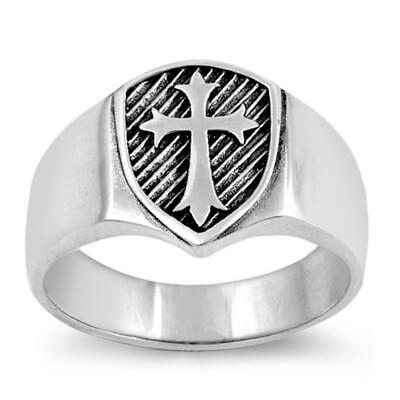 Oxidized Etched Cross Medieval Shield Ring .925 Sterling Silver Band Sizes 6-13