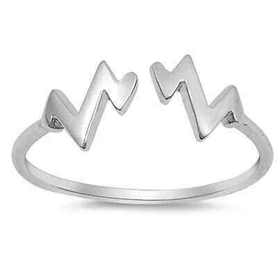 925 Sterling Silver Zigzag Band Sizes 3-10 Heart Rate EKG NEW Heartbeat Ring