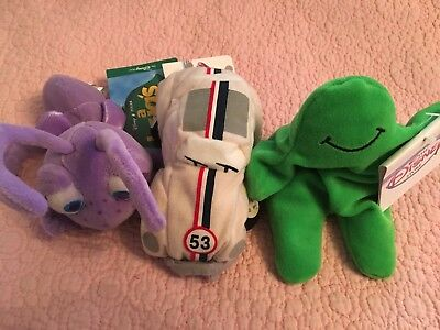 Disney Store Mini Bean Bags Assorted Characters Flubber Herbie And Dot Nwt