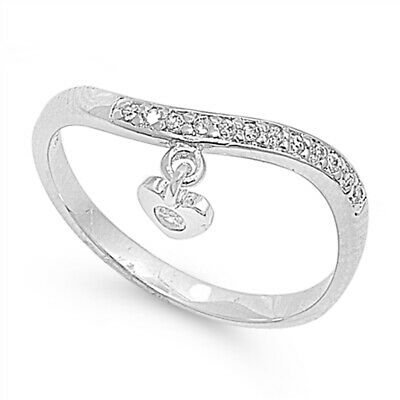 White CZ Waved Heart Hanging Polished Ring .925 Sterling Silver Band Sizes 5-9