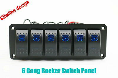 12V 24V 6 Gang Slimline LED Rocker Switch Panel Boat Caravan RV