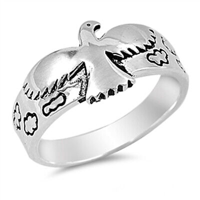 Antiqued Bird Hawk Cloud Soaring Ring New .925 Sterling Silver Band Sizes 5-11