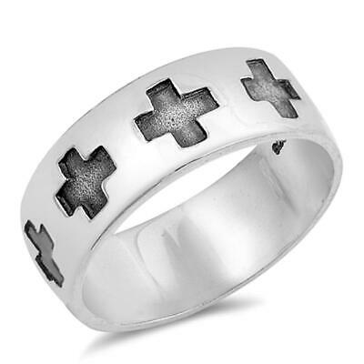 Eternity Greek Cross Wide Stamped Ring New .925 Sterling Silver Band Sizes 8-13