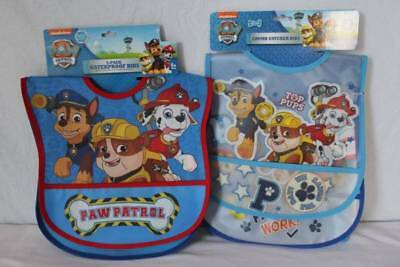 NEW Baby Boys 4 Bibs PAW PATROL Waterproof Crumb Catcher Chase Marshall Rubble