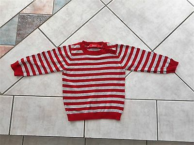 Boy Girl Unisex Size 2 Sprout Red Grey Striped Knit Jumper Cotton Button Shoulde