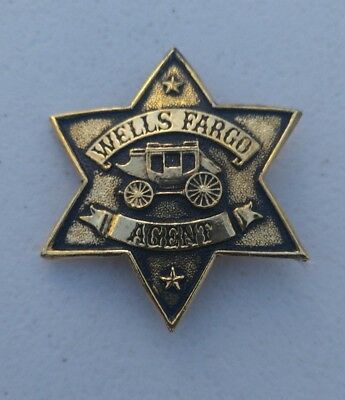 "Vtg Wells Fargo Agent Star Badge Pin Gold-Tone Souvenir 2.5"" heavy metal toy"