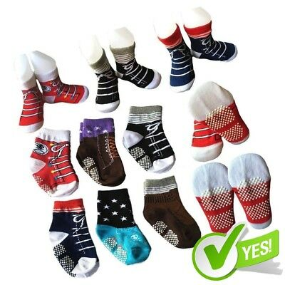 6 Pairs Toddler Baby Walkers Boy Non Skid Socks Anti Slip Stretch Knit Ankle