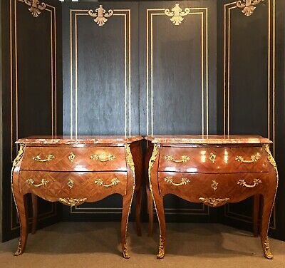 Antique pair of French bombe & inlaid buffets with guilted ormolu.