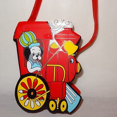 """Vintage Train Engine Puppy Red Purse 6"""" Girl's Toy Bag"""