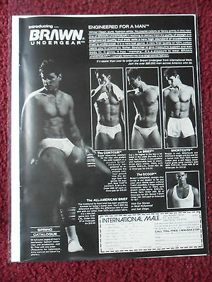 1982 Print Ad BRAWN Men's Underwear Briefs ~ International Male Fashions