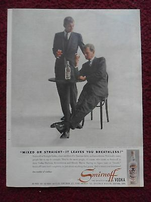 1958 Print Ad Smirnoff Vodka ~ Mixed or Straight, Leave You Breathless