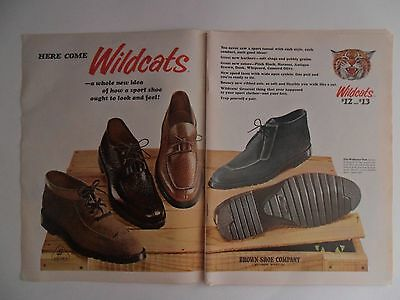 1966 Print Ad Wildcats Leather Shoes Fashion Clothing ~ Here Come the Wildcats