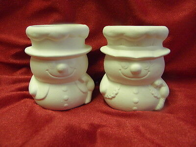 Ceramic Bisque Ready to Paint Snowman and Snowlady Candleholders 7.5cm tall